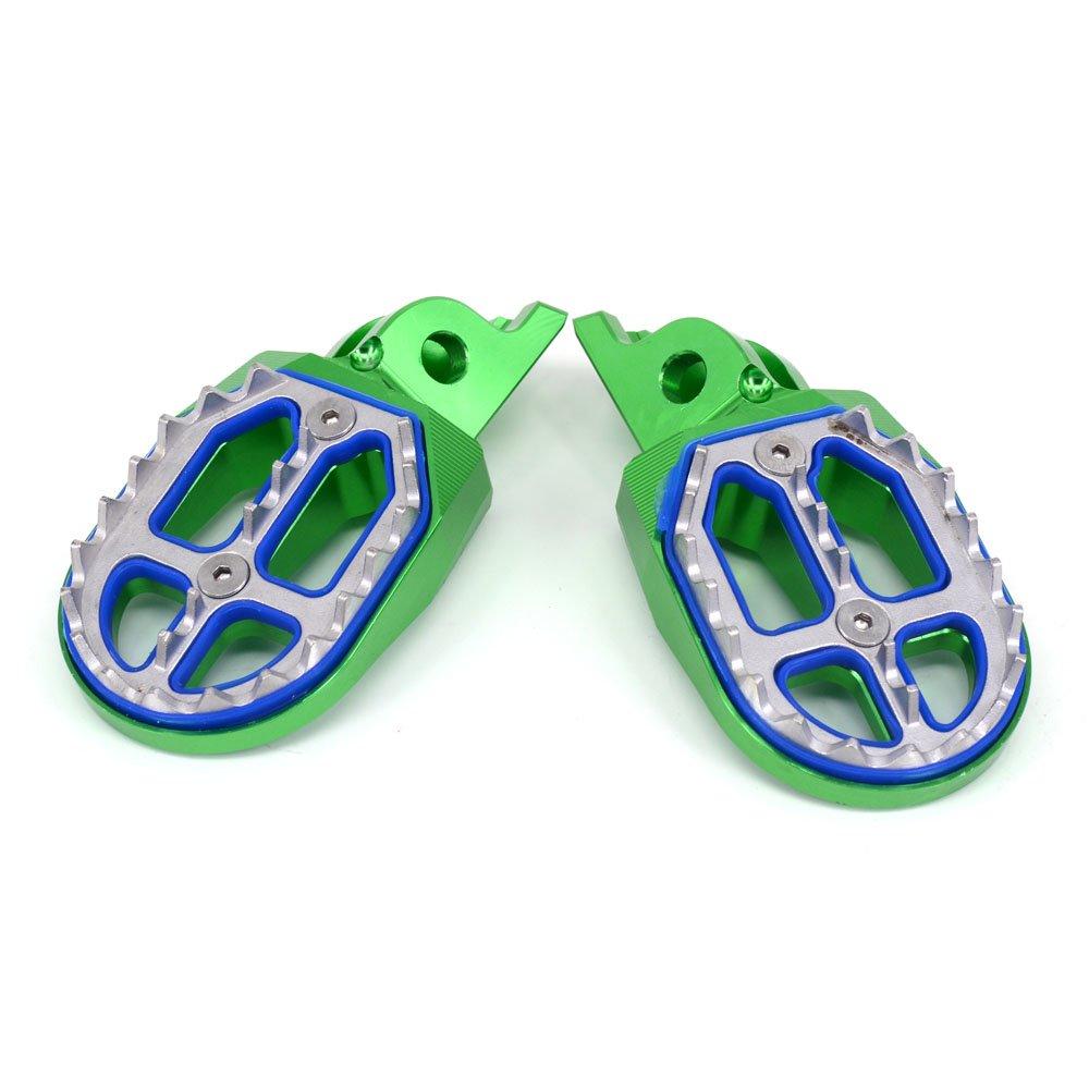 CNC MX Wide Foot Pegs Footpegs Foot Pedals Rests Green Kawasaki KX250F 2006-2016 KX450F 2007-2017 KLX450R 2008-2013