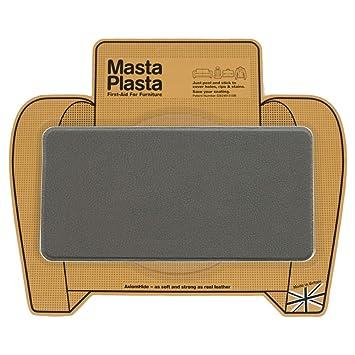 Reparador Cuero, Polipiel y Skai - Parches en Varios Colores - MastaPlasta - Rectangulo Grande Liso (200x100mm) (Gris Oscuro)
