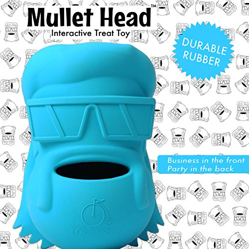 Dog With Mullet (Lord Anson trade; Mullet Head Interactive Dog Toy (Blue 1 Pack) - Treat Dispensing Dog Puzzle Toy - Pet Chew Toy for Separation Anxiety, Boredom, and)