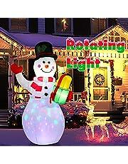 Acksonse Uppblåsbar snögubbe 150 cm, jul utomhusdekoration uppblåsbar med inbyggda roterande LED-lampor för gård trädgård gräsmatta inomhus och utomhus, juldekoration