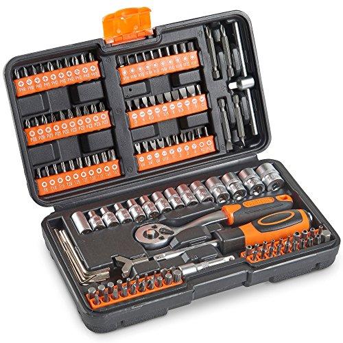 VonHaus 130pc Socket + Bit Set Including 72-Teeth Ratchet Handle - Useful...