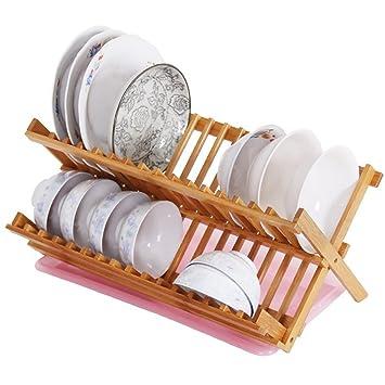 Taza de cuenco de platos de 2 niveles escurreplatos bambú plegable secado  accesorio de cocina de d288b6cab19e