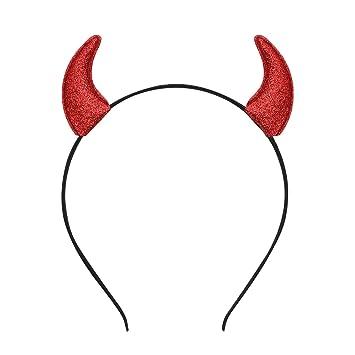 Glitter Devil Horns Headband Halloween Fancy Dress Cosplay Hairband (Red)