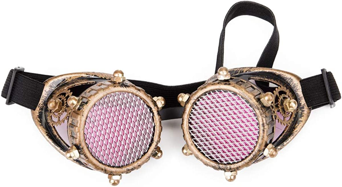 Lelinta Steampunk Kaleidoscope Goggles Rainbow or Barbed Wire Lens
