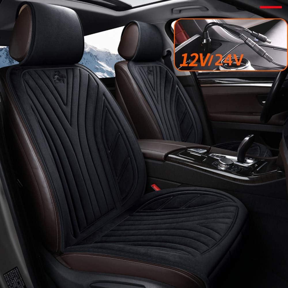 12v24v Auto Universal,Brown-Double Pl/üSch-Heizung Sitzauflage F/üR Einzel- Und Doppelsitzfahrzeuge FANGX Autositzheizung Pad Im Winter Mit Intelligentem Temperaturregler