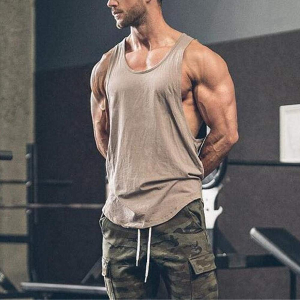 Mens Vest Casual Gyms Bodybuilding Fitness Muscle Sleeveless T-Shirt Top Vest Tank Fitfulvan