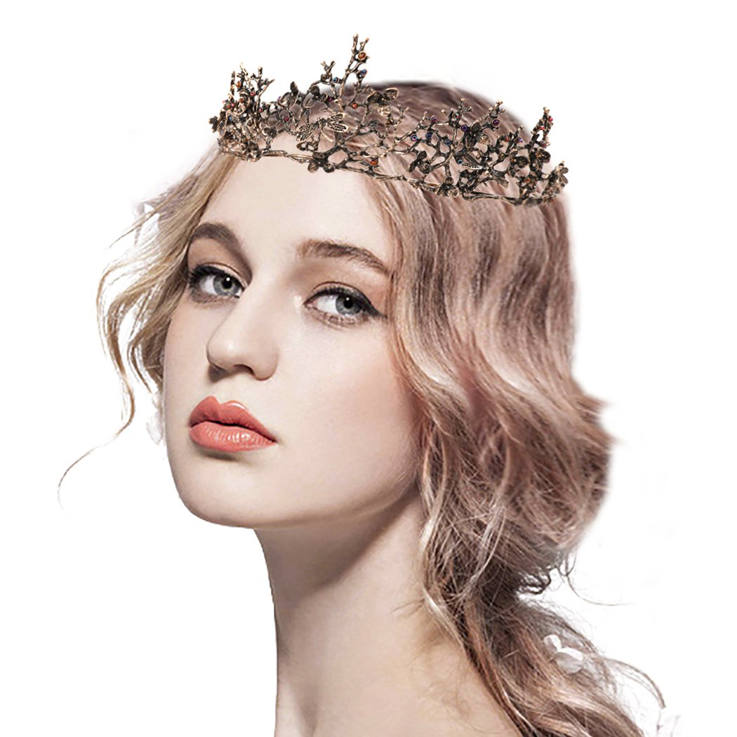 Edary Bridal Wedding Queen Crowns and Tiaras Baroque Black Flower Hair Accessories for Women by Edary (Image #2)