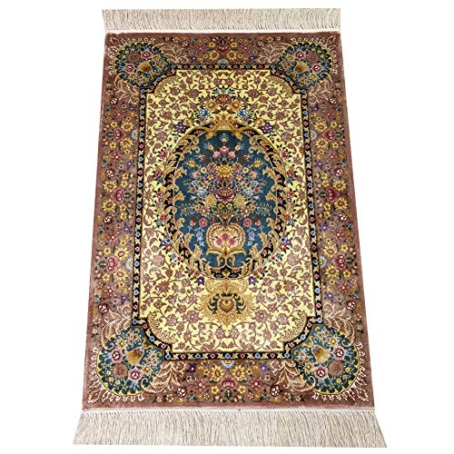 Yilong Persian Area Rug Oriental Silk Hand Knotted Floral Medallion Design Carpet, 2' x 3' ()