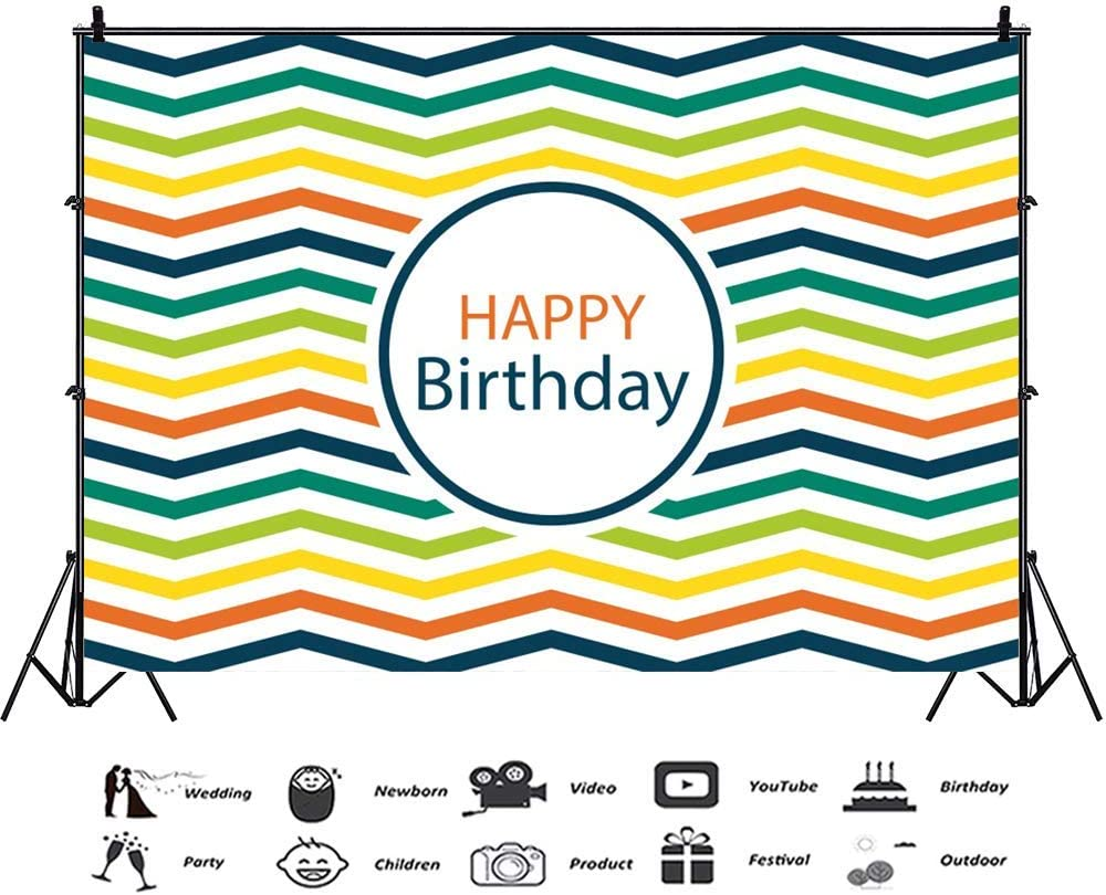 9x6ft Happy Birthday Backdrop Colorful Chevron Stripe Polyester Photography Background Simple Design Pattern Children Baby Adults Kids Party Banner Studio Decor Portraits Shoot Photo Props