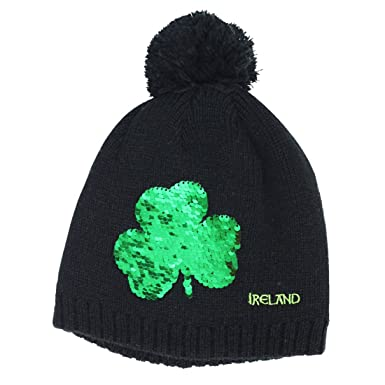 bf6567815d2 Carrolls Irish Gifts Black Kids Knitted Bobble Hat with Sequins Designed  Shamrock  Amazon.co.uk  Clothing