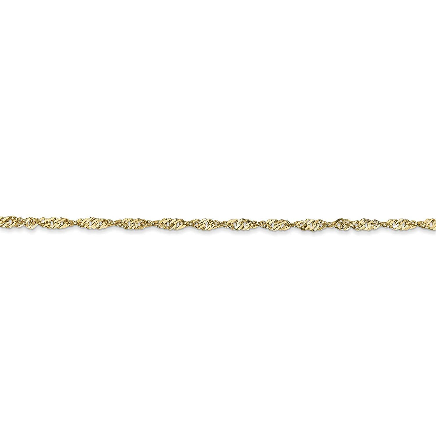 14k Yellow Gold 1.7mm Polished Singapore Chain Necklace Bracelet Anklet 7-30