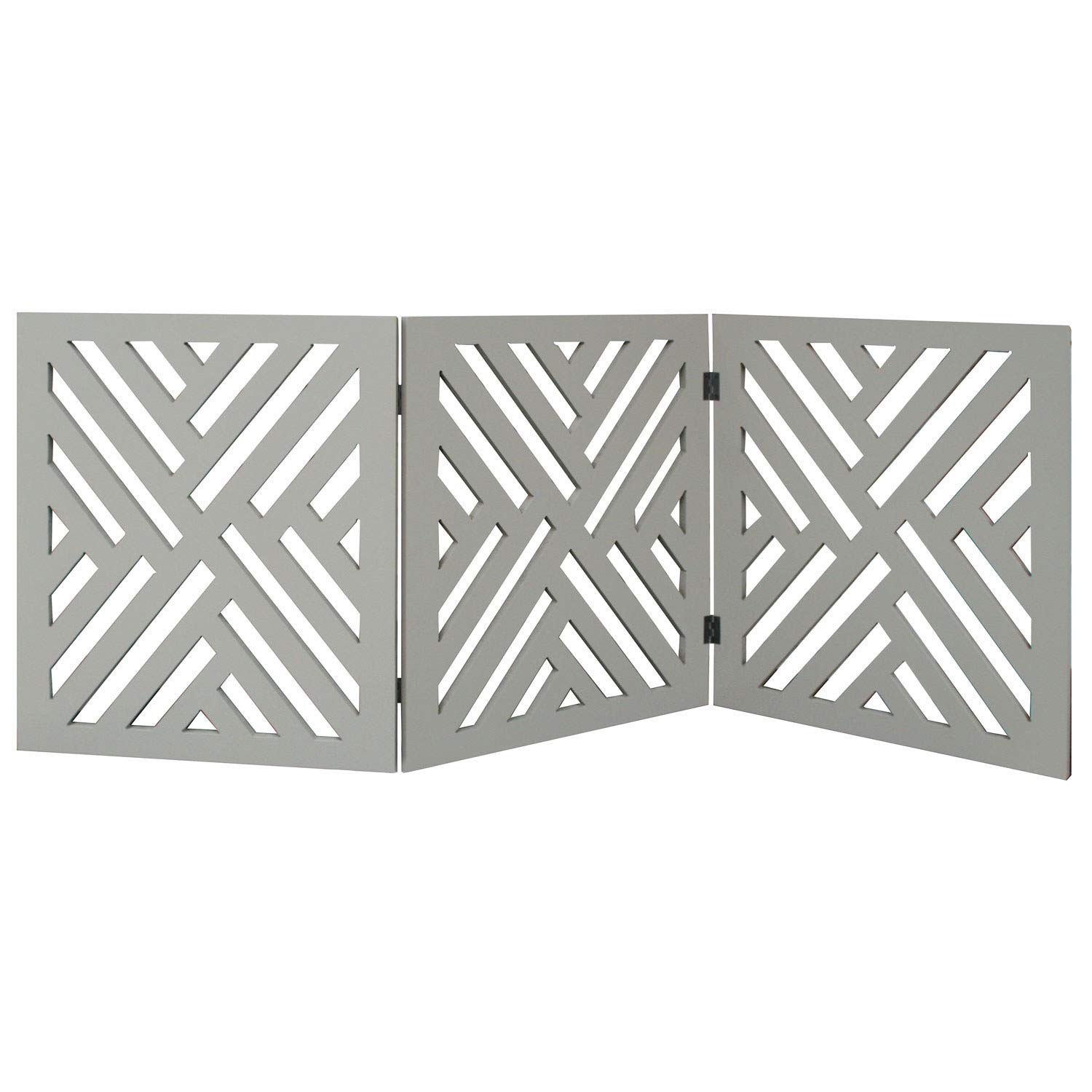 Etna 3-Panel Lattice Design Wooden Pet Gate - Freestanding Tri Fold Dog Fence for Doorways, Stairs - Indoor/Outdoor Decorative Pet Barrier - 46.2'' Wide x 15.75'' Tall by Etna