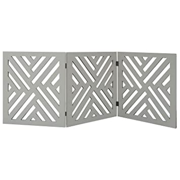 Etna 3 Panel Lattice Design Wooden Pet Gate Freestanding Tri Fold Dog Fence For Doorways Stairs