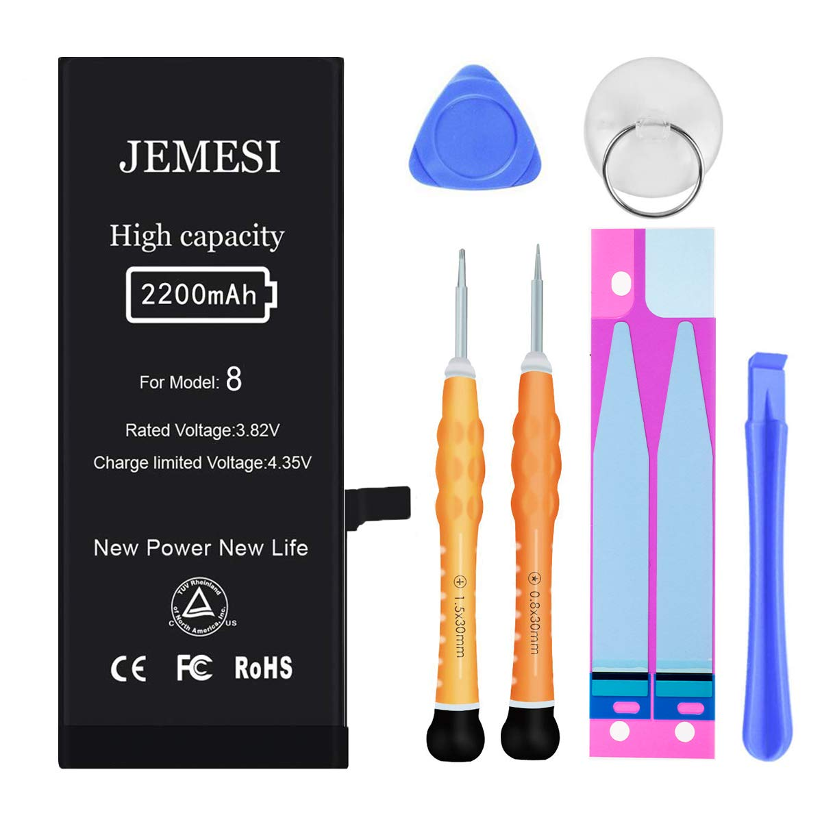 JEMESI Battery Compatible with iPhone 8, New 2200mAh High Capacity Replacement Battery, with Professional Repair Tools and Install Manual- 1 Year Warranty by JEMESI
