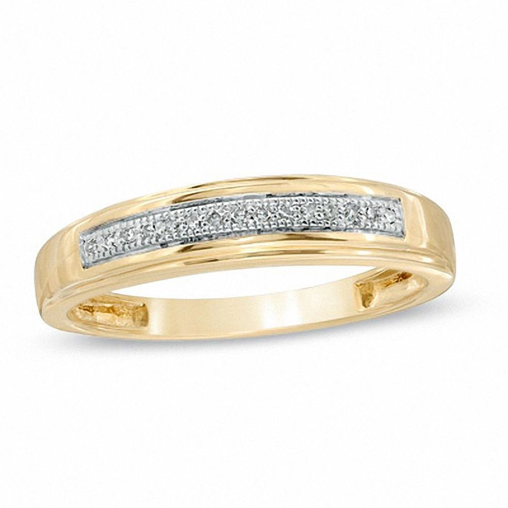 Silvernshine Jewels Ladie's Accent Wedding Band Ring With 14KT Yellow Gold Over 0.125 Ct D/VVS1 CZ