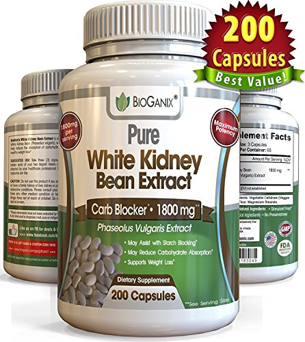 100% Pure White Kidney Bean Extract 1800mg (200 Capsules) Best Phase 2 Carb and Fat Blocker & Starch Intercept Supplement For Weight Loss (More potent than 500mg, 1000mg or 1500mg, Powder or Liquid) 61KPH 2BFr7qL