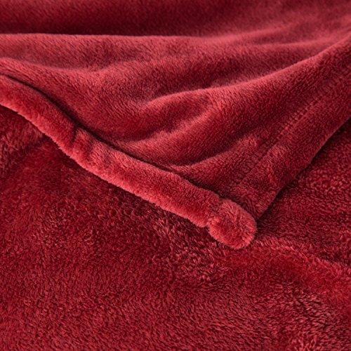 Flannel Fleece Blanket Red King Size Lightweight Cozy