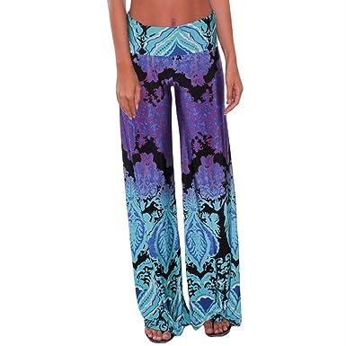 43facf311aba7e LOSRLY Women Wide Leg High Fold Over Waist Printed Boho Palazzo Pants Plus  Size-Navy