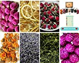 Deluxe Culinary Grade Botanical Dried Flower Collection–Wild Rose, Calendula, French Lavender, Lemon, Peony Petals, Globe Amaranth, Green Tea Edible No Additives No Preservatives Gluten-Free. Bath Bomb Making