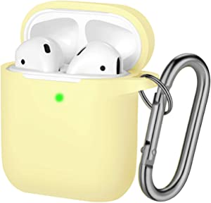 Hamile Compatible with AirPods Case [Front LED Visible] Soft Silicone Protective Cases Cover Skin Designed for Apple AirPod 2 & 1, Women Men, with Keychain (Milk Yellow)