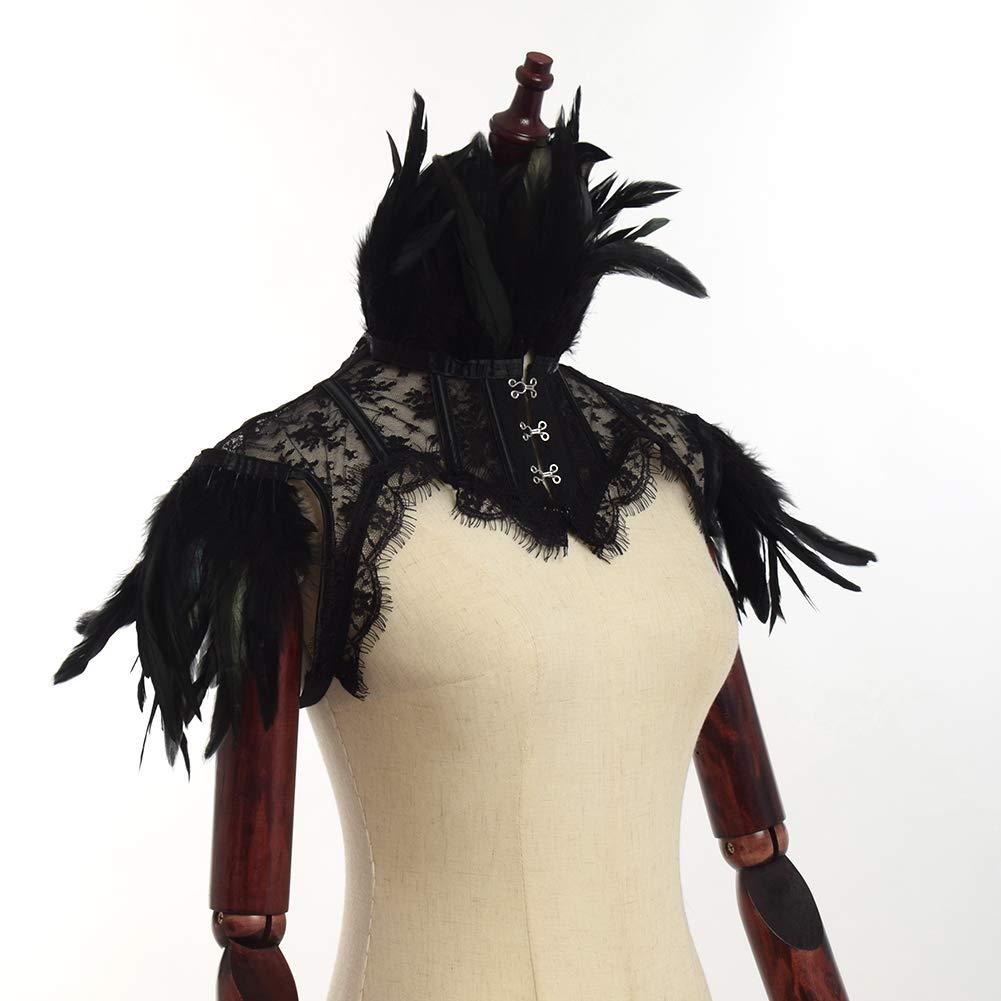 BLESSUME Gotico Punk Nero alzata di spalle vittoriano Capo Scialle collana girocollo Collare