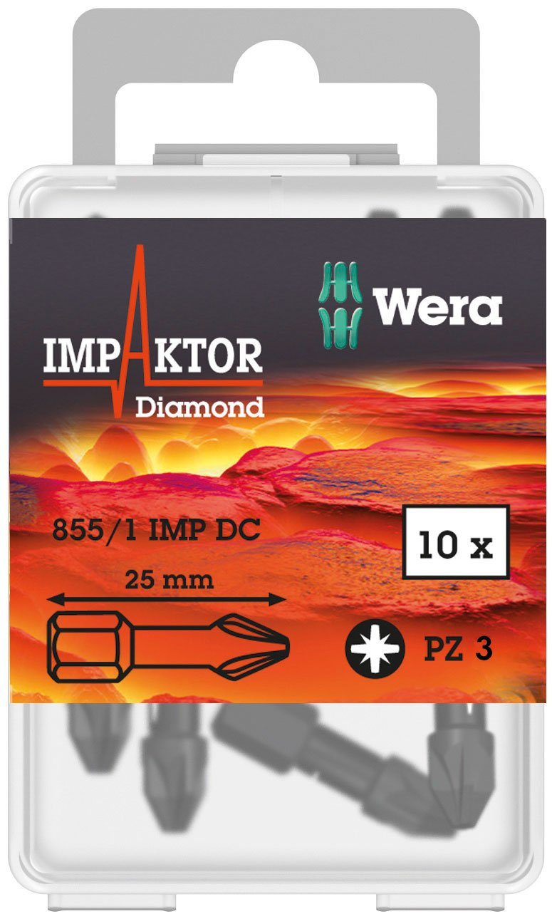 Pack of 10 Wera Tools 05057622001 Wera 855//1 Diamond Coated Impaktor Screwdriver Bits for PZ 3 Pozidriv Screws
