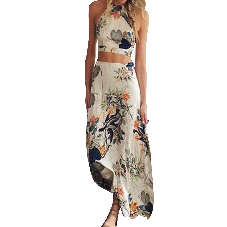 SUNNOW® Sommer Neueste Damen Röcke Kleid mit Blumen Gedruckt Tops Leibchen Längeren Abschnitt Kurz Oberteile Hälfte Lang Rock