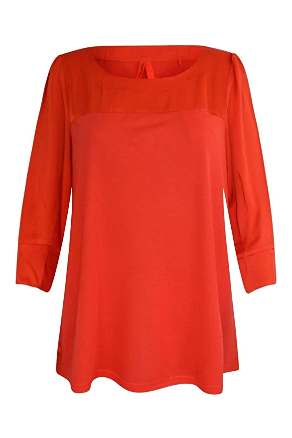 Ex NEXT Blusa de Túnica Sedosa Roja Naranja Para Damen: Amazon.es: Ropa y accesorios