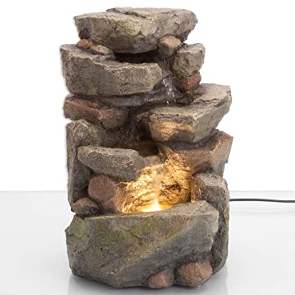 Amazon.com  Bits and Pieces - 11.25 Inch Indoor Tiered Rock Fountain ... 1e93cdfbb