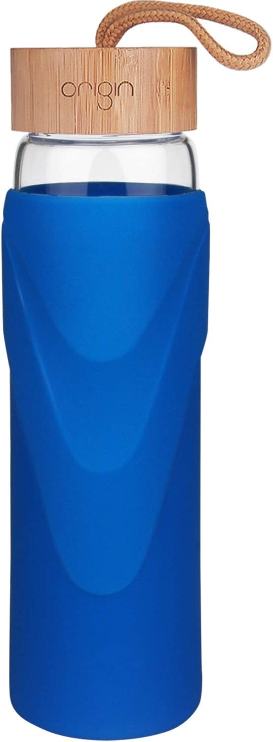 ORIGIN Best WIDEMOUTH BPA-Free Glass Water Bottle With Protective Silicone Sleeve and Bamboo Lid - Dishwasher Safe - 32 Ounce