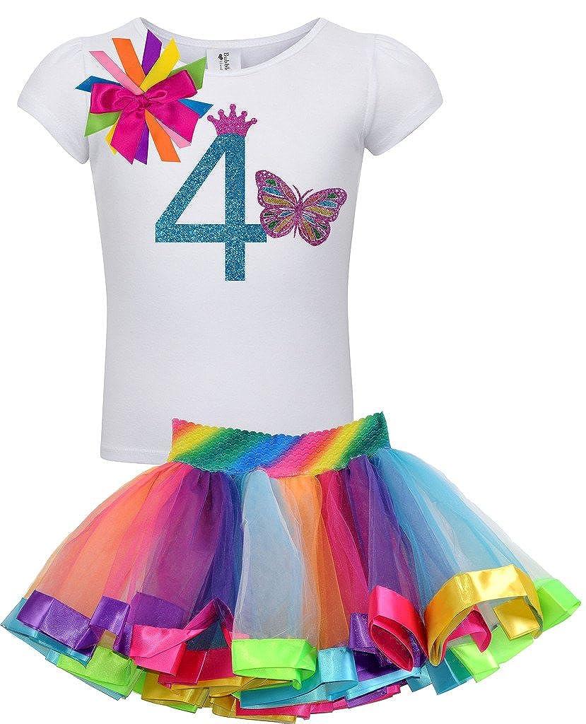 Bubblegum Divas Little Girls 4th Birthday Butterfly Shirt Rainbow Tutu Outfit