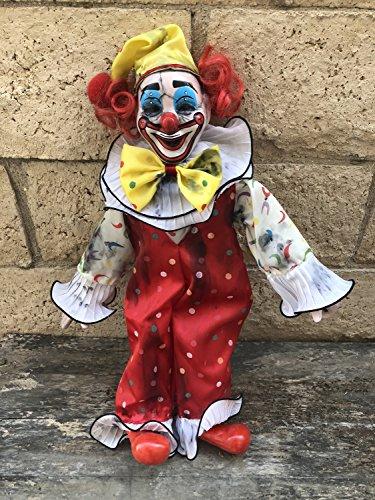 OOAK Sitting Evil Clown Creepy Horror Doll Art by Christie Creepydolls