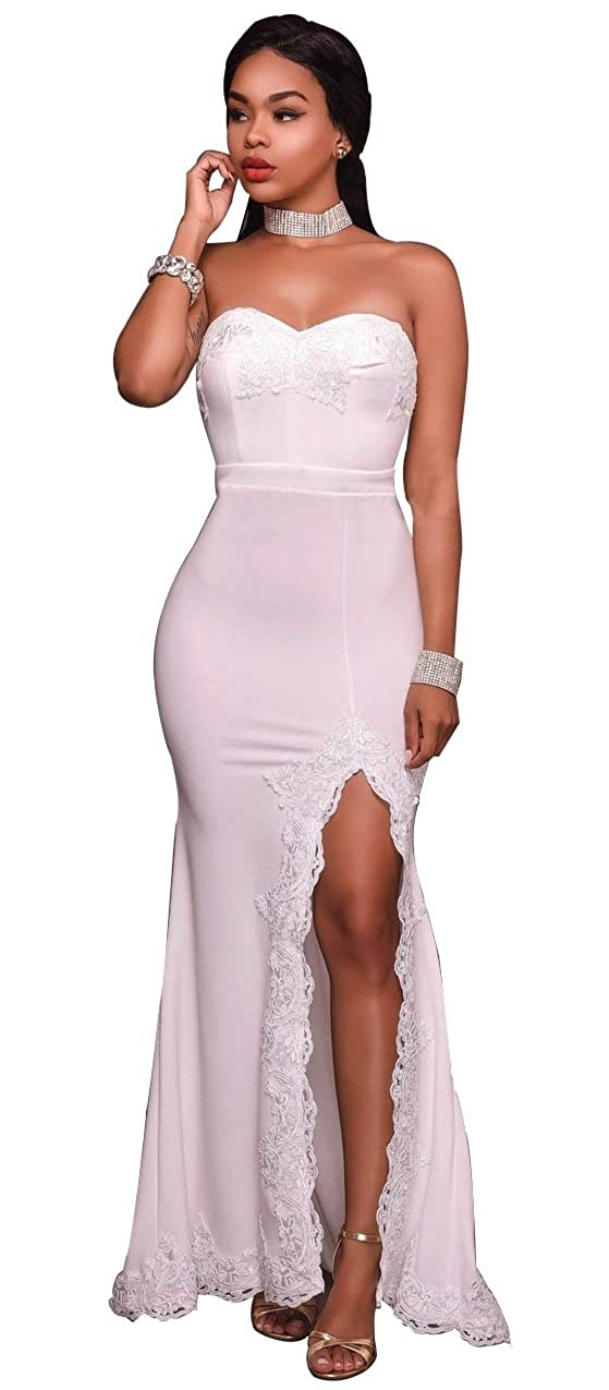 4a6a1853cb8 Kearia Women Strapless Bodycon Side Split Prom Gown Cocktail Evening Long  Mermaid Dress at Amazon Women s Clothing store