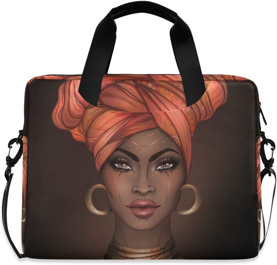 ALAZA African American Woman Laptop Case Bag Sleeve Portable Crossbody Messenger Briefcase w/Strap Handle, 13 14 15.6 inch