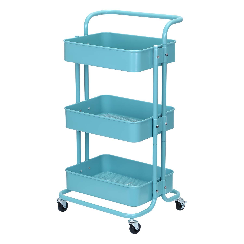 Lash Cart Organizer Bathroom Cart Art Storage Cart JANE EYRE 3-Tier Metal Rolling Utility Cart with Handles Makeup Cart with Wheels White Book Cart