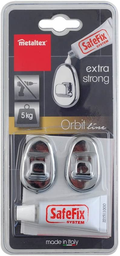 Metaltex Orbit Juego 2 Ganchos con Adhesivo, Plata: Amazon.es: Hogar