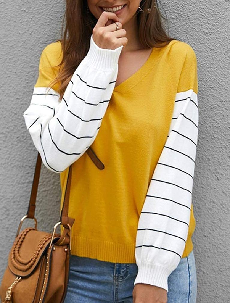 Smallwin Womens Long Sleeve Striped Retro Blouse Colorblock V Neck T-Shirts