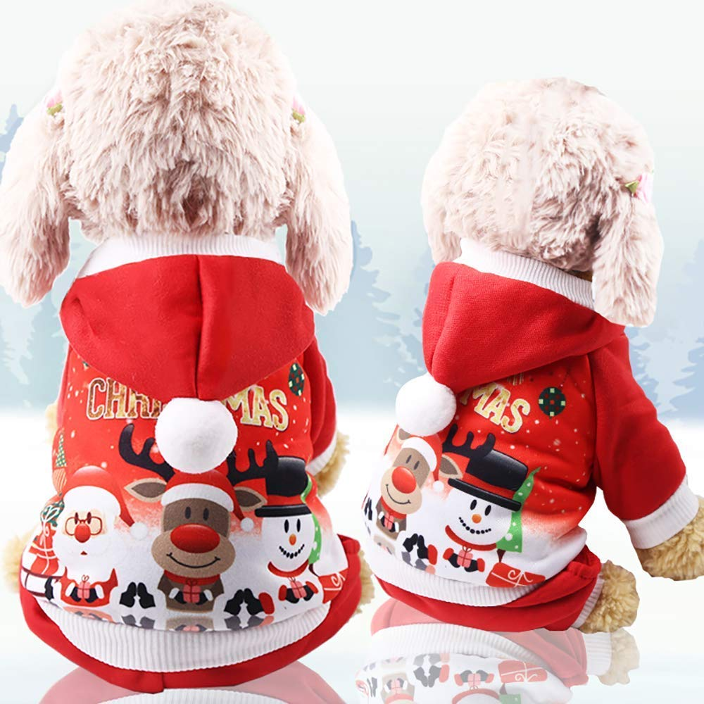 L LLYU Pet Dog Coat Hoodie cat Dog Clothing Christmas pet Clothes Winter Suit for Small and Medium Dogs (Size   L)