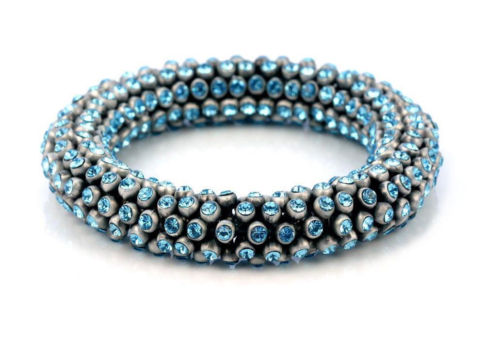 Bico Celestia Flexible Bracelet w Swarovski Crystals (CA36 Lt Bl 7in) - for everything that dazzles