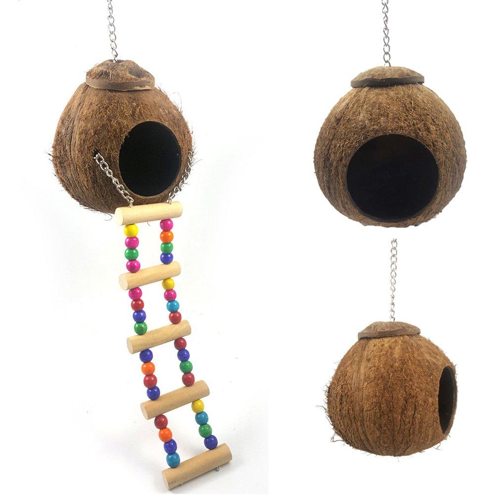 SYN Caseta de Nido de Coco Natural, casa de pájaros para Jaula o ...