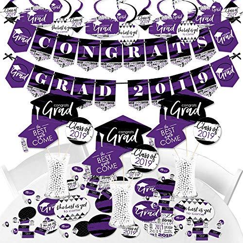 Purple Grad - Best is Yet to Come - 2019 Purple Graduation Party Supplies Party Decoration Kit - Fundle Bundle
