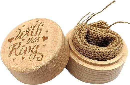 Amosfun Caja de anillo de bodas de madera Caja de anillo de compromiso rústica Caja de joyería personalizada Decoración: Amazon.es: Hogar
