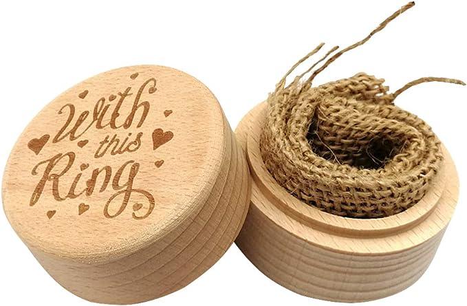 Amosfun Caja redonda de madera caja de anillo decorativa propuesta de compromiso joyero favor anillo portador contenedor caso (con este anillo): Amazon.es: Hogar