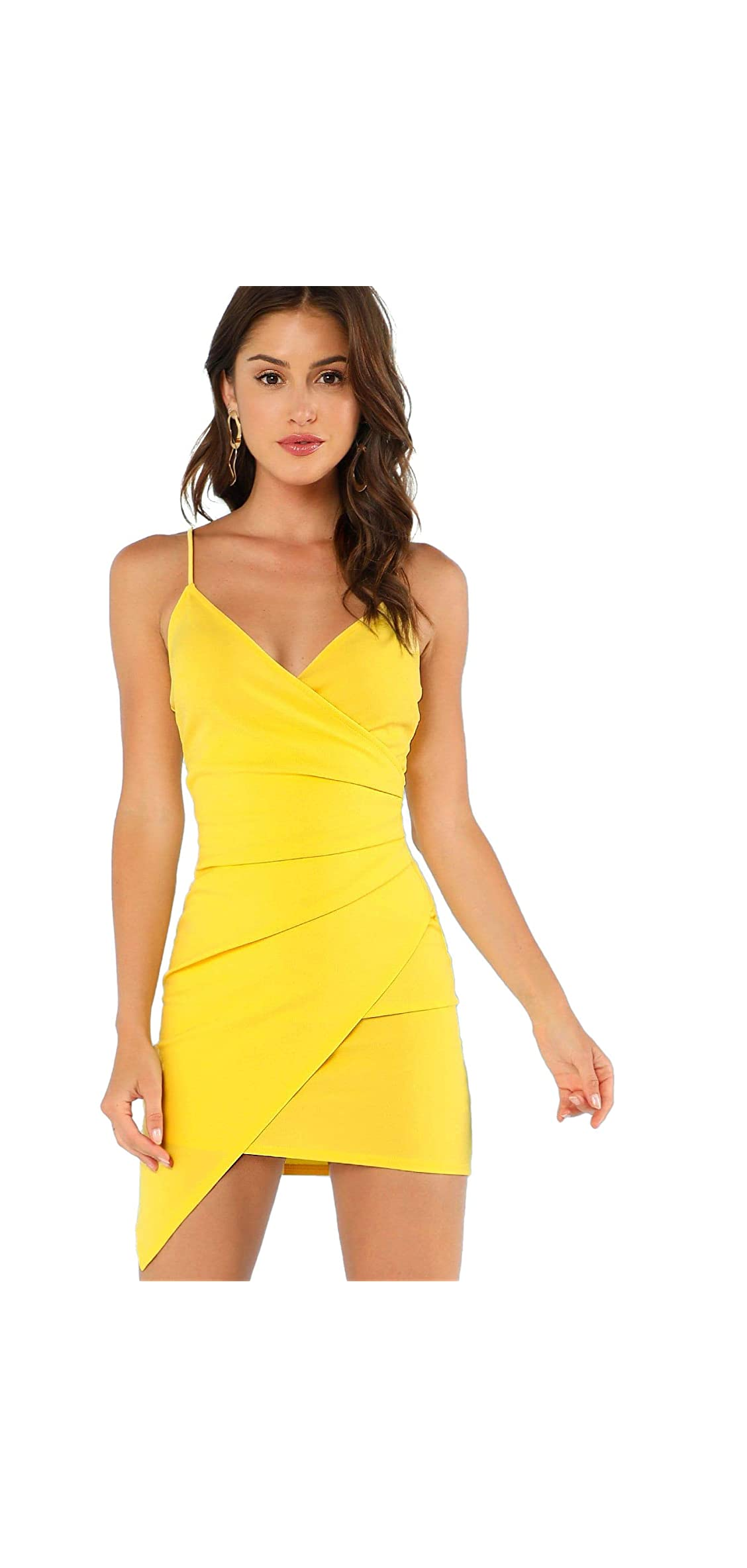 Women's Sexy Ruched Side Asymmetrical V Neck Bodycon