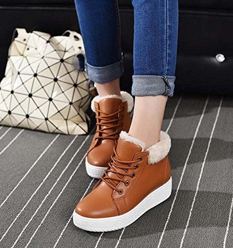 Bootie Pure Boots Martin Casual Thick Shoes 35 Size Snow Tall Brown Plate Toe Wedge Eu 40 4cm Bottom Boots Heel Lace Warm up Women Color Shoes Round 5tqZzwz