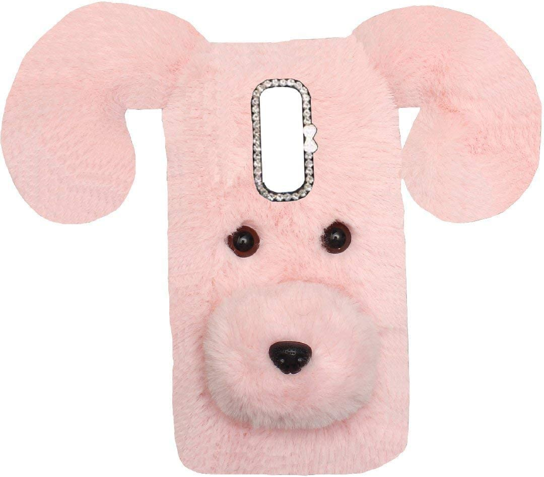 Lenovo Vibe K4Note/X3 Lite/A7010 Art Case, Handmade Fluffy Villi Dog Baby Wool Cute Ball Nose Winter Warm Soft Cover, TAITOU Beautiful Big Ear Light Slim Phone Case For Lenovo Vibe K4 Note Pink
