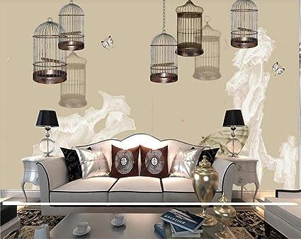 Mural de tinta jaula de pájaros piedra extraña concepción artística TV fondo pared papel tapiz personalizado-400x280cm