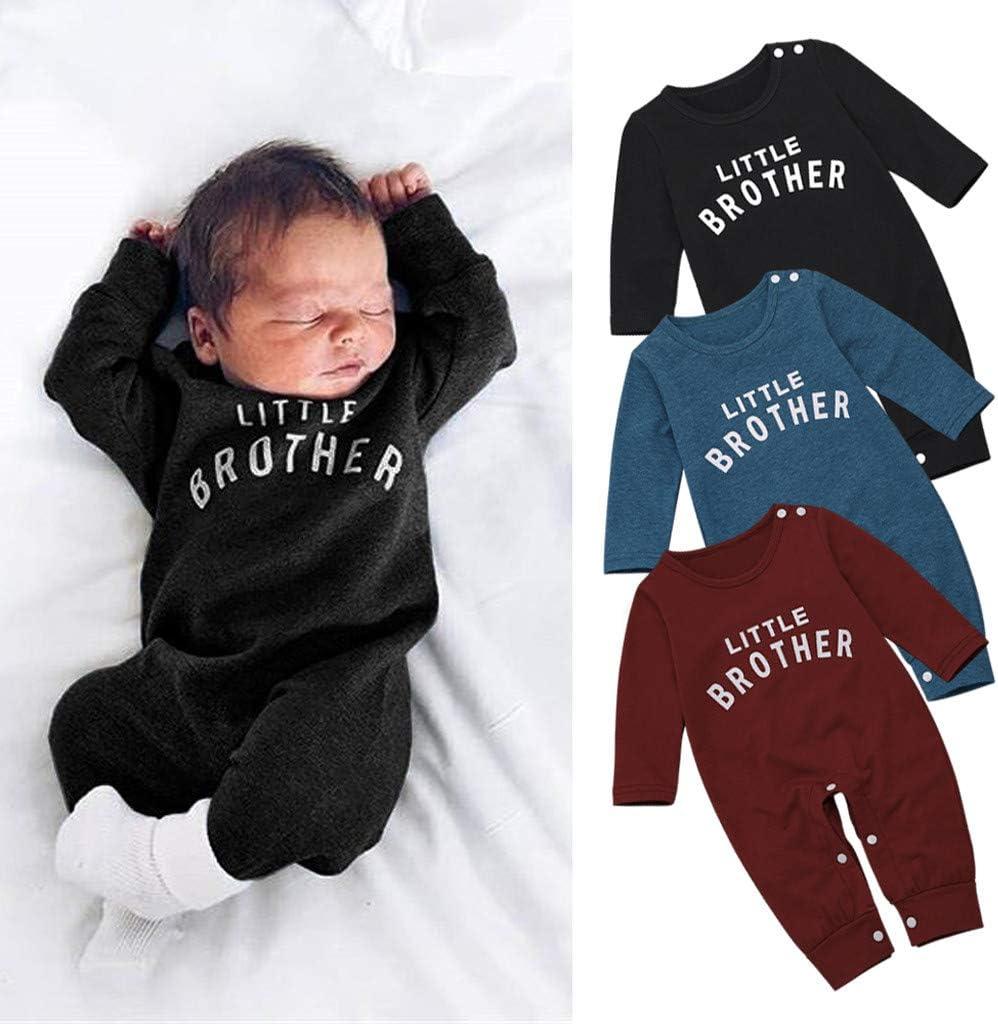 Blue, 3-6 Months Mumustar Newborn Infant Baby Boy Romper Jumpsuit LetterLittle Brother Printed Button Sleepsuit Bodysuit Clothes Outfit