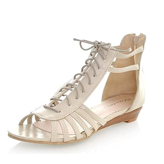 Women Low Wedges Heels Lace Up Cut Outs Ankle Wrap Beach Flats Gladiator  Sandals Shoes: Amazon.ca: Shoes & Handbags