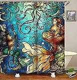 Mermaid Shower Curtain Livilan Mermaid Fabric Shower Curtain Set with 12 Hooks Mildew Resistant Bath Curtain Machine Washable, 72 X 72 inch, Blue